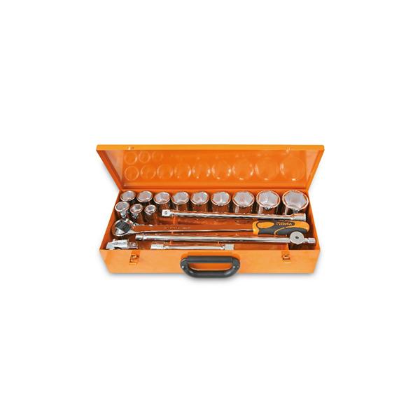 Surtido de 12 llaves de vaso hexagonales y 5 accesorios en caja de chapa