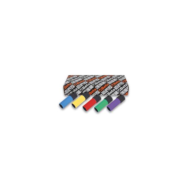 Juego de 5 llaves de vaso de impacto con elementos polimericos coloreados para tuercas de ruedas