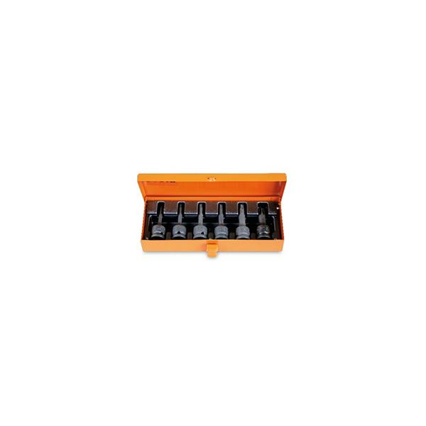 6 llaves de vaso macho de impacto  para tornillos con huella Torx¨  en caja metalica